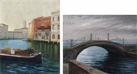 veduta veneziana (+ another; 2 works) by roberto d' ambrosio
