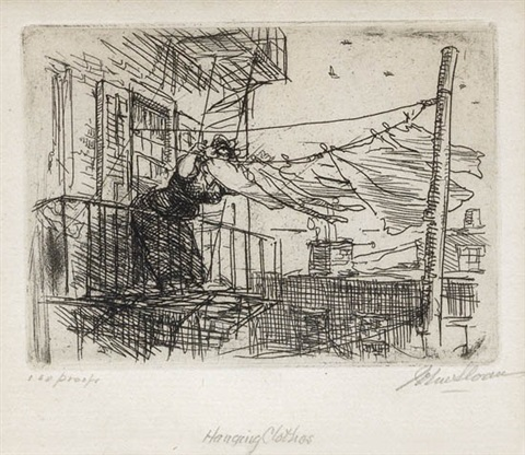 hanging clothes by john french sloan