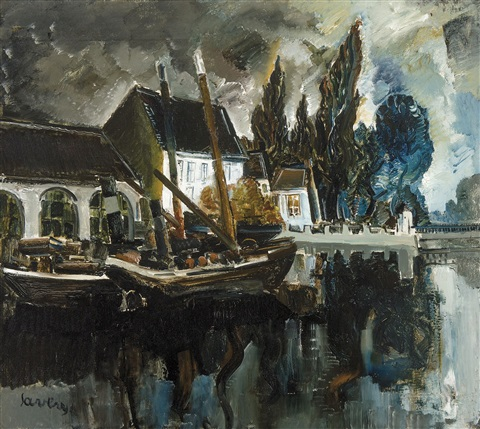 bateau au quai à bruges by albert saverys