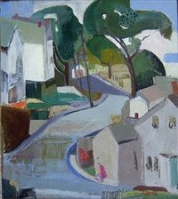 townscape with trees by eleanor arnett
