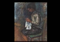 a girl knitting lace by sueo tsuda