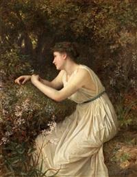antikiserande kvinna i blomsterlund by sophie anderson
