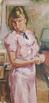 woman in a pink costume by charlotte hilmer