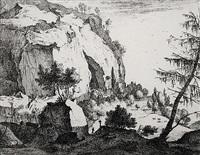felsige landschaft mit dem kiefernbaum, pl. 4 (+ schafhirte und kreuz, pl. 5; 2 works from ansichten von italien)) by roelant roghman