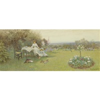 tea party on the lawn by thomas james lloyd