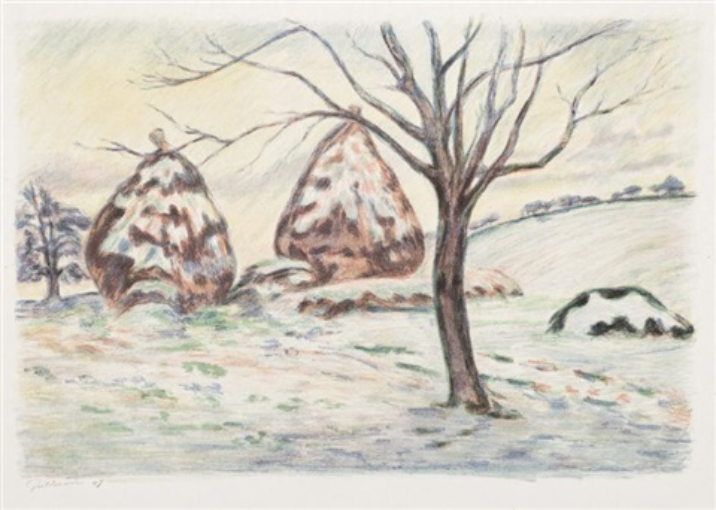 paysage aux meules ou les meules en hiver à palaiseau by armand guillaumin