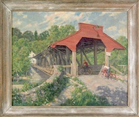landscape with two children riding bicycles across a covered bridge by ralph d. dunkelberger