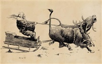 santa with reindeer * public speaking (2 works) by edward windsor kemble