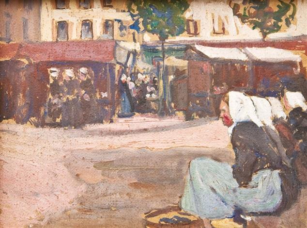 marktplatz in der bretagne by fernand piet