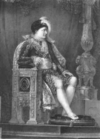 portrait of emperor napoléon i seated on the throne in coronation robes by innocent louis goubaud