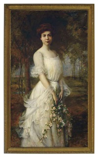 a beauty holding spring blossoms in a landscape by carle john blenner