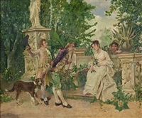galante compagnie sur une terrasse de jardin by mariano josé maría bernardo fortuny y carbó