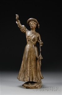 bust of a fashionable woman with parasol hailing a hansom by alfred quesnay de beaurepaire