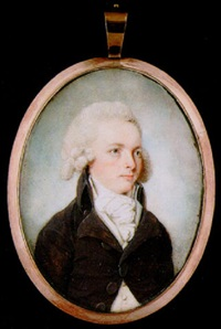 a young gentleman with powdered hair wearing brown coat, cream waistcoat and white cravat by thomas hull