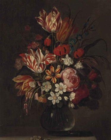 still life with tulips and carnations in a glass vase by balthasar van der ast