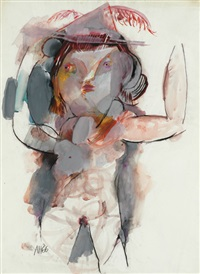 girl wearing feathered hat by anne marie hall