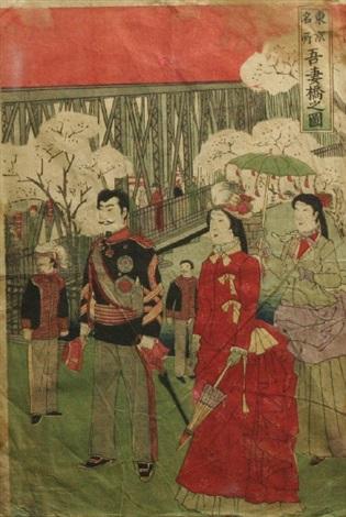 promenade at azumabashi from the tokyo meisho series by utagawa yoshitora
