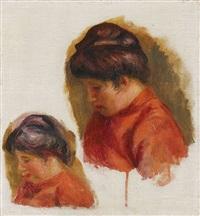 femme au corsage rouge (étude de gabrielle) by pierre-auguste renoir
