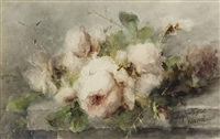 pink roses on a stone ledge by margaretha roosenboom