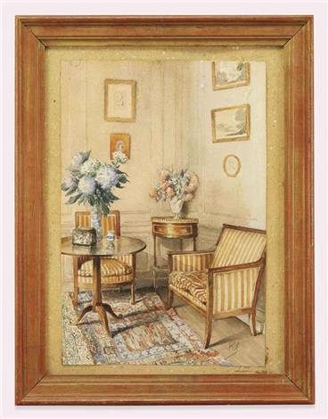 an interior with empire furniture and blue hyacinths by jean leonhard koechlin schwartz