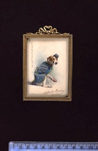 casualties of world war i: a pair of smooth fox terriers, wearing blue coats and hats, one with a bandaged paw (+ a fox terrier, wearing blue coat and hat, his paw bandaged, smaller; 2 works) by gertrude massey