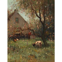 woman and cow in an orchard by h. endlich