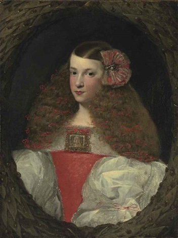 portrait of a young girl half length in a feigned wreath by sebastian de herrera barnuevo