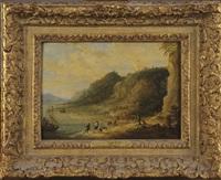 paysage panoramique avec pêcheurs by lucas van uden
