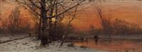 reisigsammler in winterlandschaft by johann jungblut