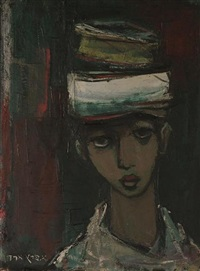 head study of a figure wearing a hat by esther peretz arad