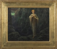 mystical woman standing on a rocky coast by albert e. smith