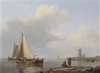 shipping in an estuary by hermanus koekkoek the elder