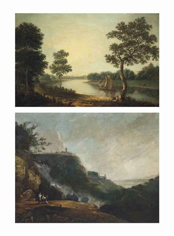 a view of the thames at twickenham with marble hill house the falls at tivoli 2 works by richard wilson