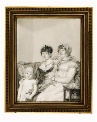 the countess de montmarie with her mother and her daughter, seated on a sofa in an interior, the grandmother holding a pair of spectacles and a letter, the young girl holding a doll by jean jacques karpff