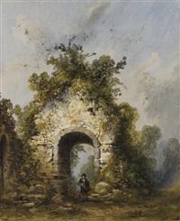 une église en ruine entourée de végétation, un homme se promenant by gabriel hippolyte le bas