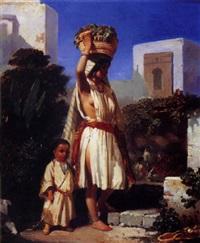 jeune marocaine au panier de raisins by j. de tolosa