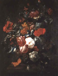 roses, poppies and other flowers in a vase on a ledge by philips van kouwenberg