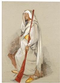 study of a man wearing north african dress by john frederick lewis