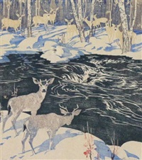 deer, kananaskis by barbara (barleigh) leighton