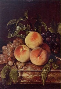 still life of grapes and peaches on a marble ledge by willem frederik van royen