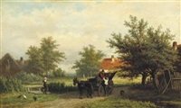 a horsedrawn carriage on a country path by georgius heerebaart