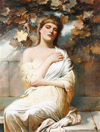 a classical woman seated below a vine by percy anderson
