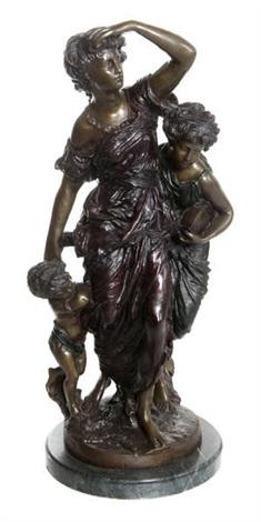 jeune femme guettant avec ses deux enfants by mathurin moreau