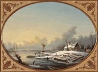 wintervergnügen auf dem gefrorenen see by albert-alexandre lenoir
