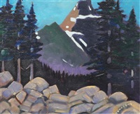 dusk falls during hike in yoho, bc (lake o'hara area) by william (h.w.) townsend