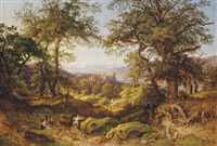 a family gathering wood in the hills above heidelberg by august lucas