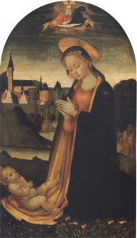 the madonna adoring the christ child in a landscape with a town beyond and god the father and the holy dove looking down from above by master of san miniato