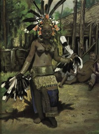 dayak girl performing hornbill dance by ernst agerbeek