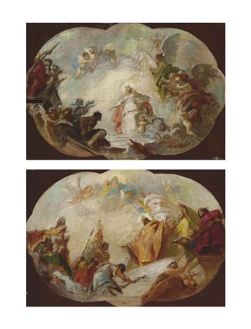 the ascension of a female saint and the triumph of a king (a pair) by gregorio guglielmi