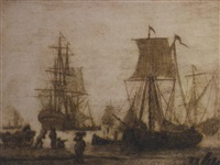 shipping in a harbour with figures on a shore by adriaen van salm